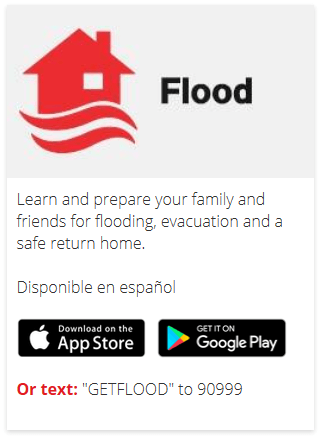 Flood Red Cross app screen capture with information on how to download the app
