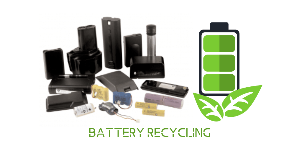 Battery Recycling with photo of rechargeable batteries