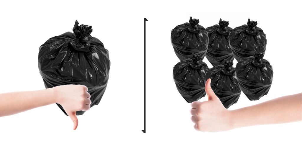 bags of garbage with thumbs down for one bag, and thumbs up for multiple bags