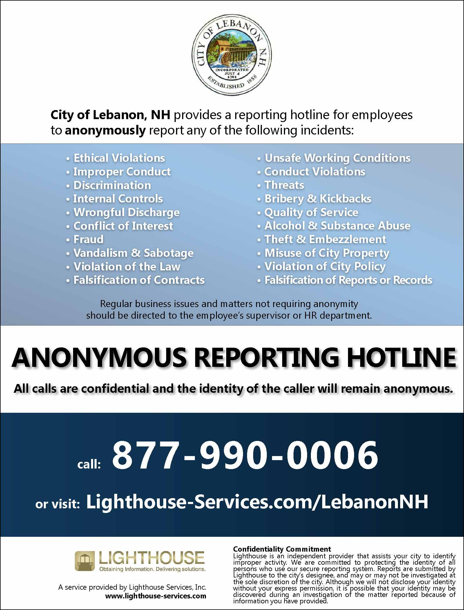Screenshot of the anonymous reporting hotline poster