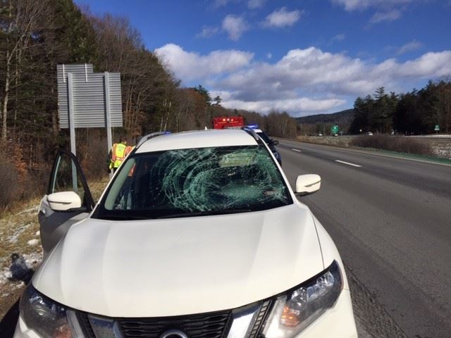 Photo of smashed windshield