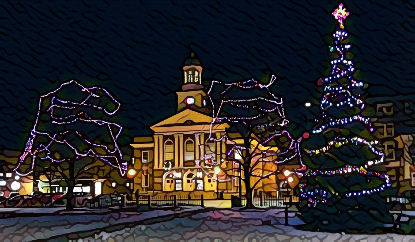 Photo of Lebanon City Hall at night with holiday lighting