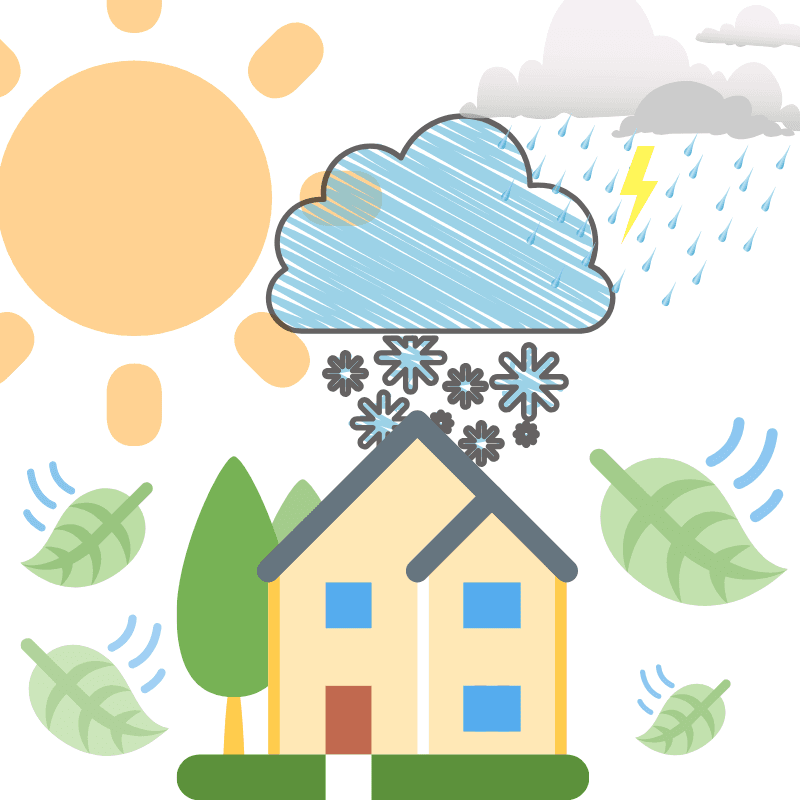 clipart image of house with sun, snow, rain, and leaves blowing