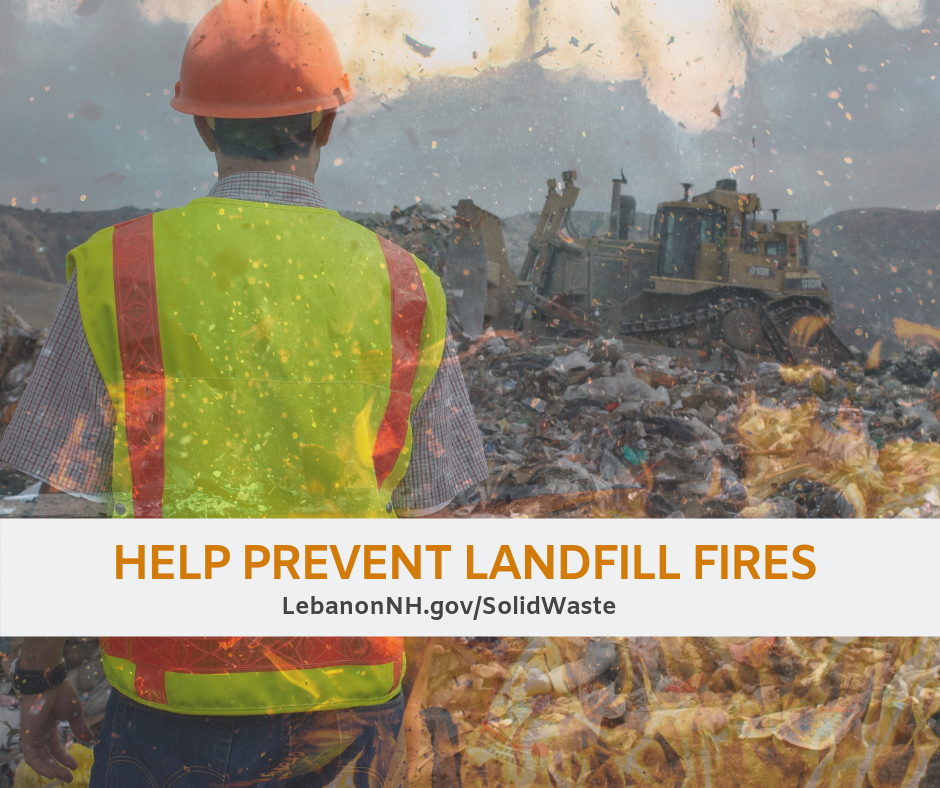 photo of landfill worker looking over landfill fire