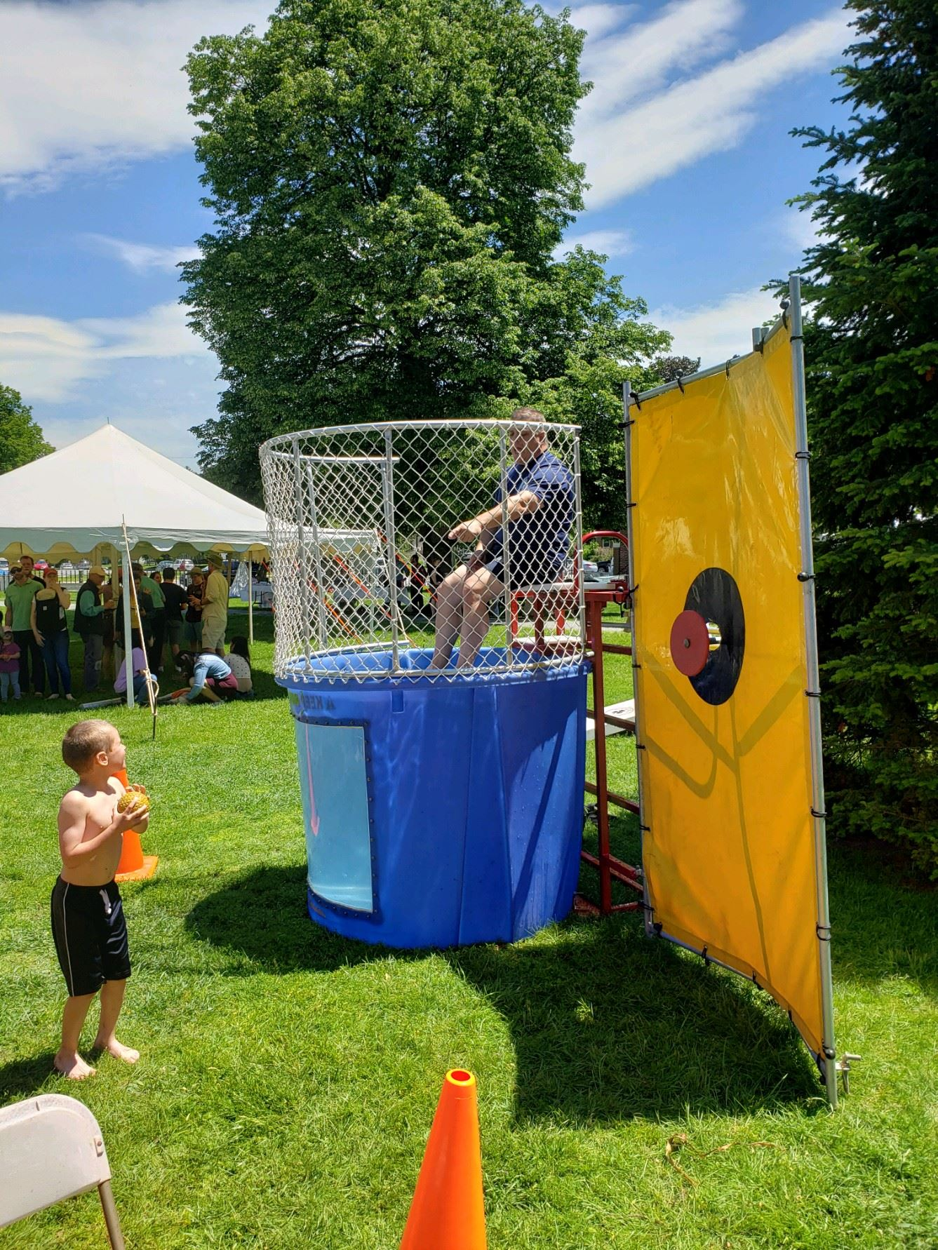 Chief in dunk tank